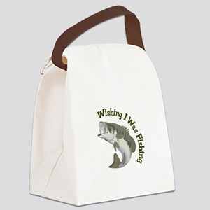 WISHING I WAS FISHING Canvas Lunch Bag