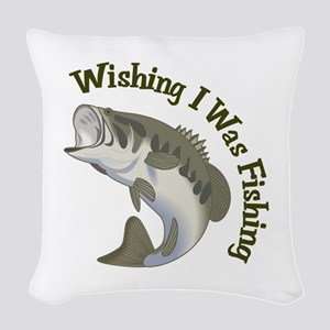 WISHING I WAS FISHING Woven Throw Pillow