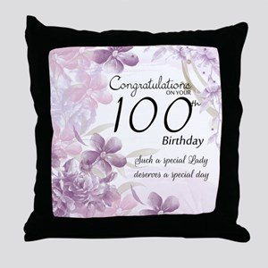 100th Birthday Floral Celebration - Throw Pillow