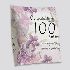 100th Birthday Floral Burlap Throw Pillow