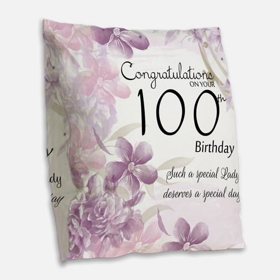 100th Birthday Floral Burlap Throw Pillow