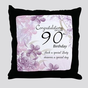 90th Birthday Celebration Design Throw Pillow