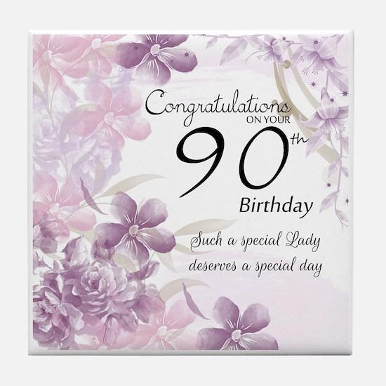 90th Birthday Celebration Design Tile Coaster