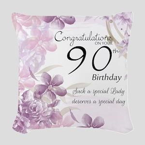 90th Birthday Celebration Woven Throw Pillow