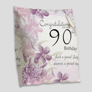 90th Birthday Celebration Burlap Throw Pillow