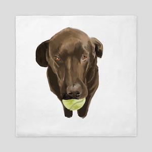 labrador retiever with a tennis ball Queen Duvet