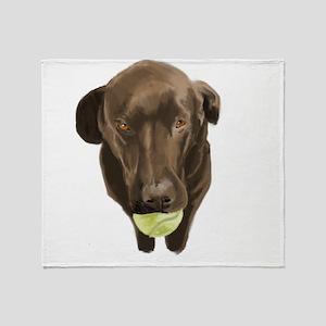 labrador retiever with a tennis ball Throw Blanket