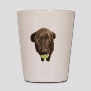 labrador retiever with a tennis ball Shot Glass