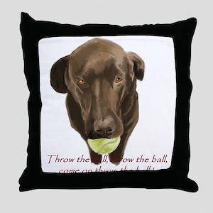 labrador retiever with a tennis ball Throw Pillow