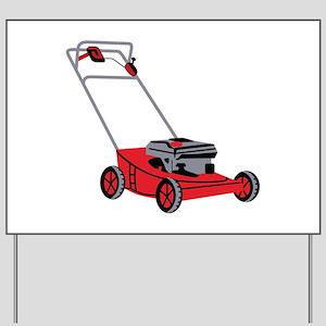 lawn mower yard sign