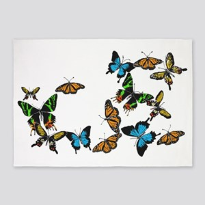 Colored Butterflies 5'x7'Area Rug