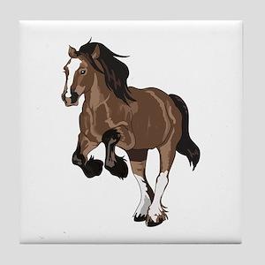 REARING DRAFT HORSE Tile Coaster