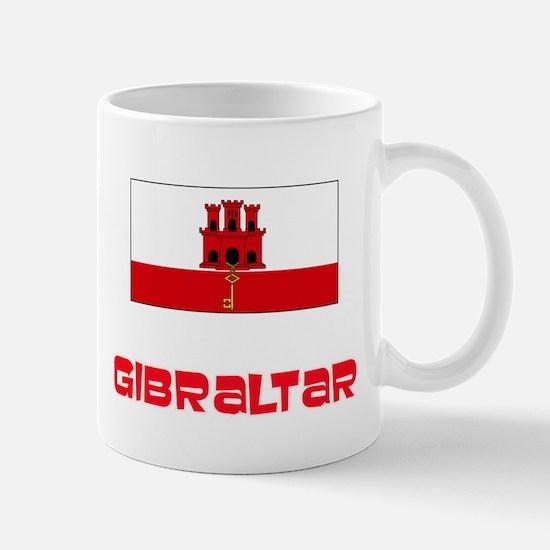 Gibraltar Flag Retro Red Design Mugs