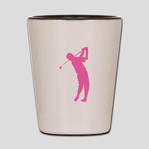 Pink Golfer Silhouette Shot Glass