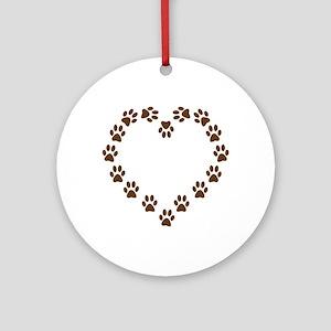 DOG PAWPRINT HEART Ornament (Round)