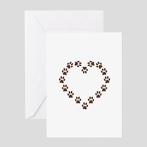 DOG PAWPRINT HEART Greeting Cards