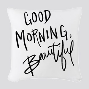 """Hand lettered """"Good Morning, B Woven Throw Pillow"""
