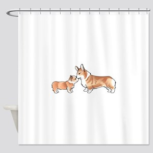 CORGI ADULT AND PUP Shower Curtain