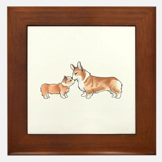CORGI ADULT AND PUP Framed Tile