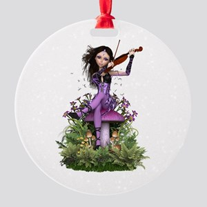 Amethyst Fairy ~ Summer Melody Round Ornament