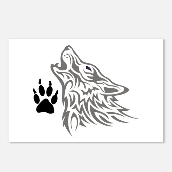WOLF AND PAW PRINT Postcards (Package of 8)