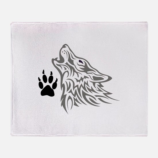 WOLF AND PAW PRINT Throw Blanket
