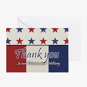 Thank You Veterans RWB Greeting Cards