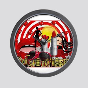 valentines day makeup red hearts lips Wall Clock