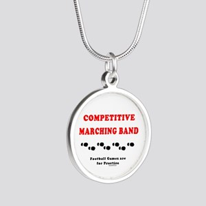 Competitive Band Footprints Silver Round Necklace