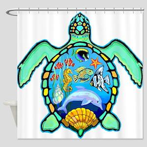 Sea turtle seascape Shower Curtain