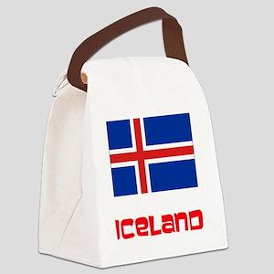 Iceland Flag Retro Red Design Canvas Lunch Bag