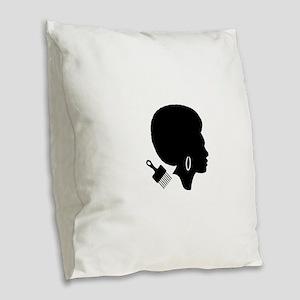 vintage black afro american wo Burlap Throw Pillow