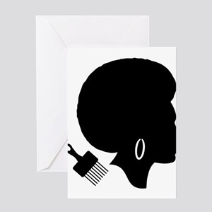 vintage black afro american woman Greeting Cards