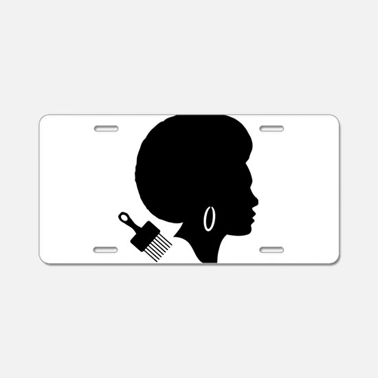 vintage black afro american Aluminum License Plate