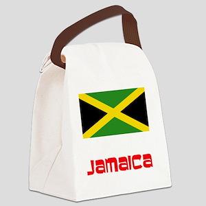 Jamaica Flag Retro Red Design Canvas Lunch Bag
