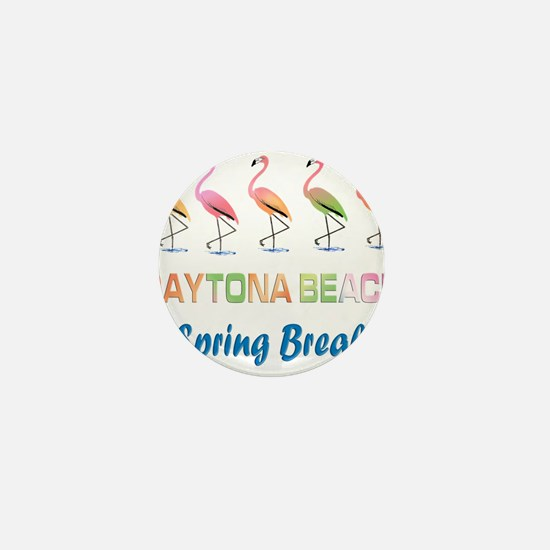 Tropical Flamingos DAYTONA BEACH Sprin Mini Button