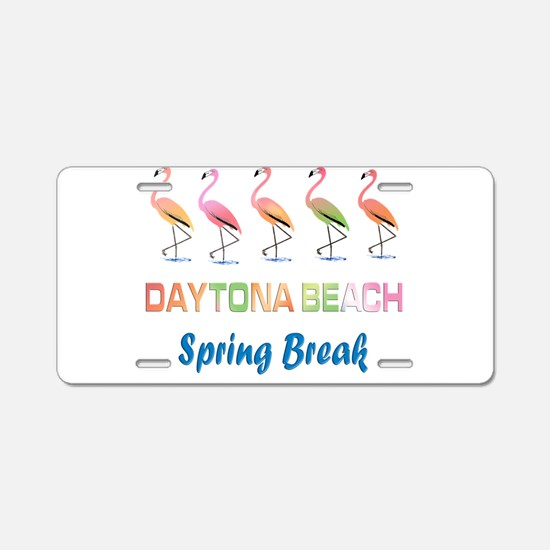 Tropical Flamingos DAYTONA Aluminum License Plate