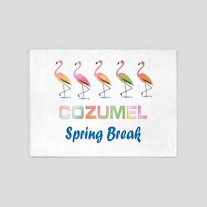 Tropical Flamingos COZUMEL Spring B 5'x7'Area Rug