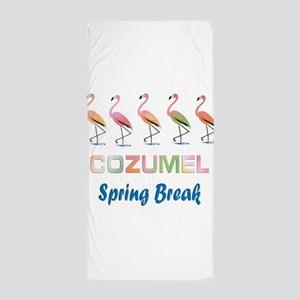 Tropical Flamingos COZUMEL Spring Brea Beach Towel