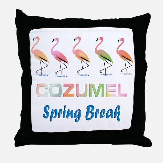 Tropical Flamingos COZUMEL Spring Bre Throw Pillow