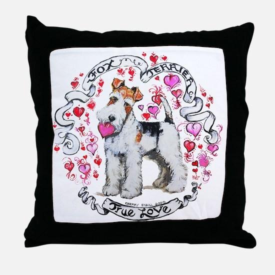 Fox Terrier Sweetheart Throw Pillow