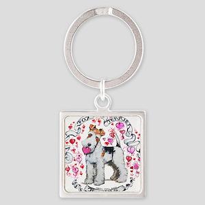 Fox Terrier Sweetheart Square Keychain