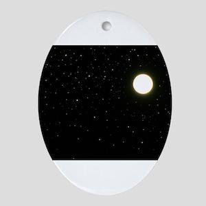 black moon night stars Ornament (Oval)