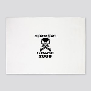 Cheating Death Since 2008 Birthday 5'x7'Area Rug