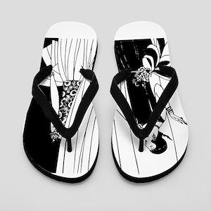 1920s vintage flappers black white draw Flip Flops
