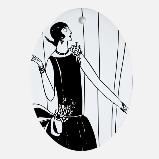 1920s vintage flappers black white Ornament (Oval)