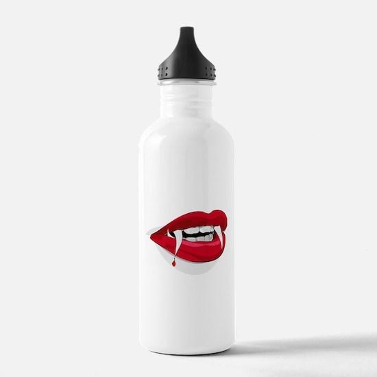red vampire teeth lips Water Bottle