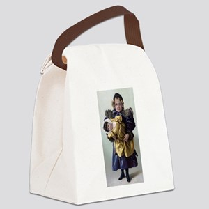 antique doll child blue gold Canvas Lunch Bag