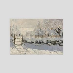 Monet Magpie Snowy Landscape Low Poly 4' x 6' Rug