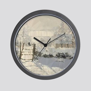 Monet Magpie Snowy Landscape Low Poly Wall Clock